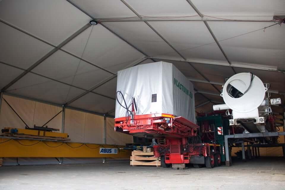 Werktent gehuurd bij Donselaar Structures in gebruik door transportbedrijf